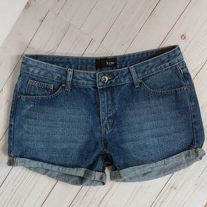 🎇 Hype Rolled Hem Denim Shorts Sz 5 Med Wash